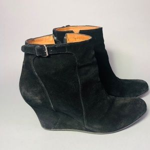4ccbd54bf1cd Authentic Lanvin Suede Wedge Ankle Boots